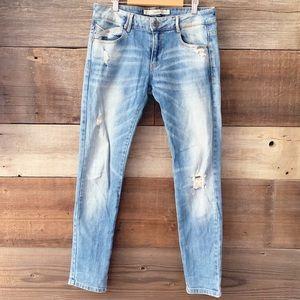 ZARA Trafaluc Light Washed Distressed Skinny Jeans